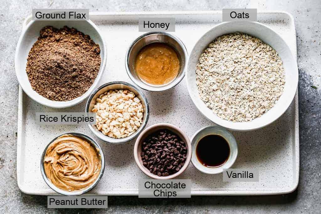 Labeled ingredients needed to make Granola Bites.