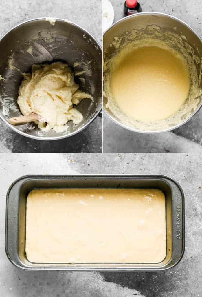 Three process photos for making the batter for sour cream pound cake and pouring it into a loaf pan.