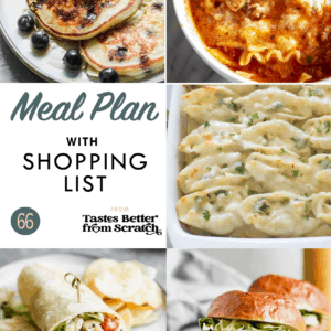 A collage of dinner recipe images comprising a weekly meal plan.