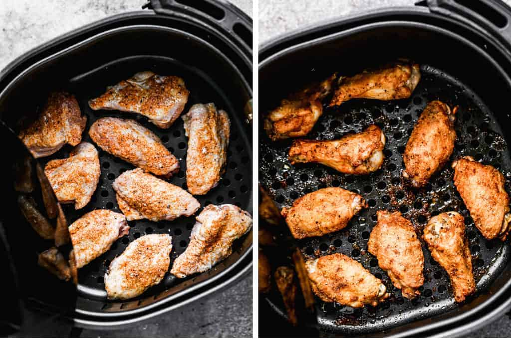 Two process photos of Chicken wings in an air fryer, before and after cooking.