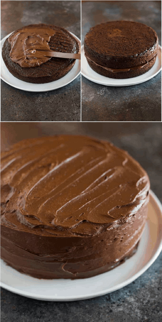 Three process photos of stacking and frosting a two layer round chocolate cake.