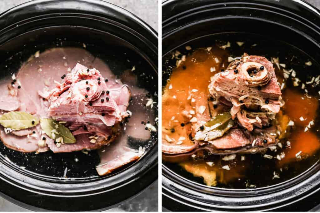 Ham bone in a slow cooker, covered with water and spices, next to a photo of the slow cooker with cooked ham bone broth in it.