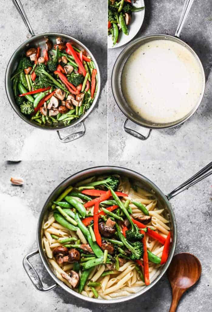Trois photos de processus pour faire des pâtes primavera, y compris faire sauter des légumes, faire une sauce blanche et les combiner avec des pâtes cuites.