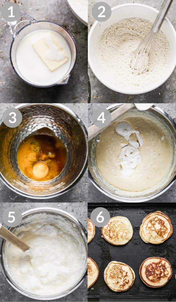 A collage of six process photos for making Ricotta Pancakes.