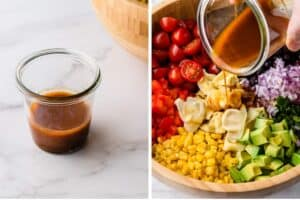 Homemade dressing for Tortellini Pasta Salad, next to another photo of the dressing being poured over the pasta salad.