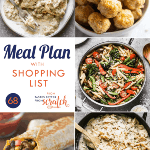 Collage of 5 dinner recipe images comprising a weekly meal plan