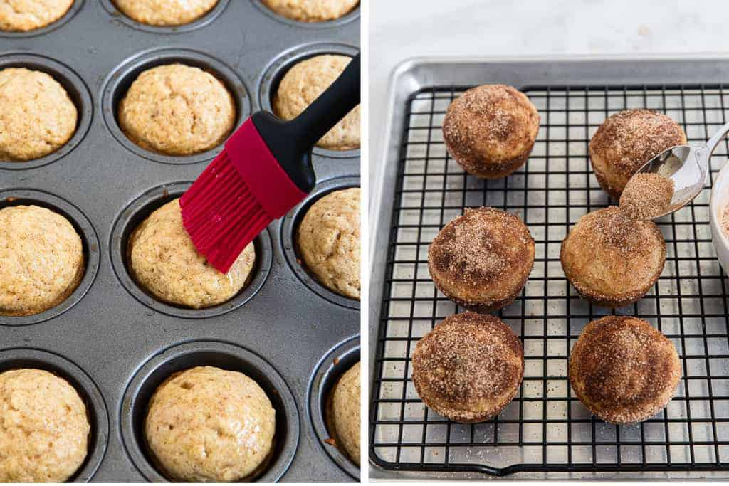Melted butter brushed on top of baked muffins, then cinnamon sugar sprinkled on top.
