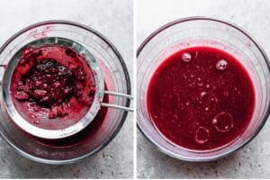Mashed blackberry mixture being pushed through a fine mesh sieve to remove seeds.