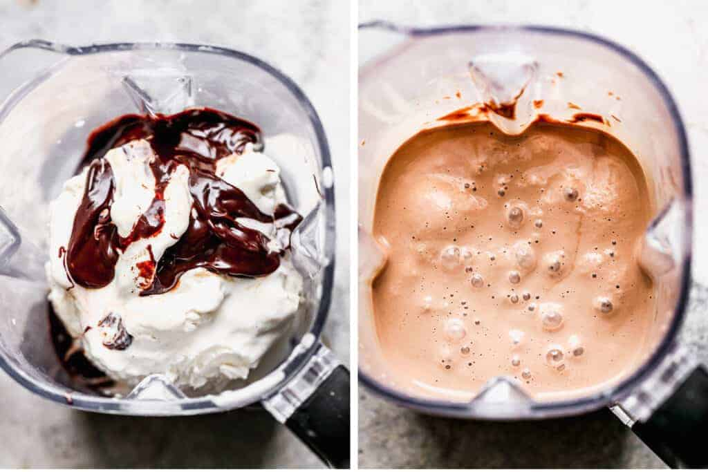 Two process photos of the ingredients for a chocolate milkshake in a blender, then blended.
