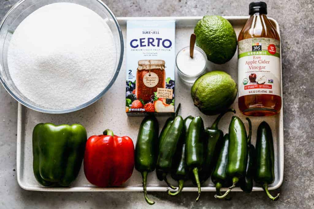 A tray with the ingredients needed for jalapeño jelly.