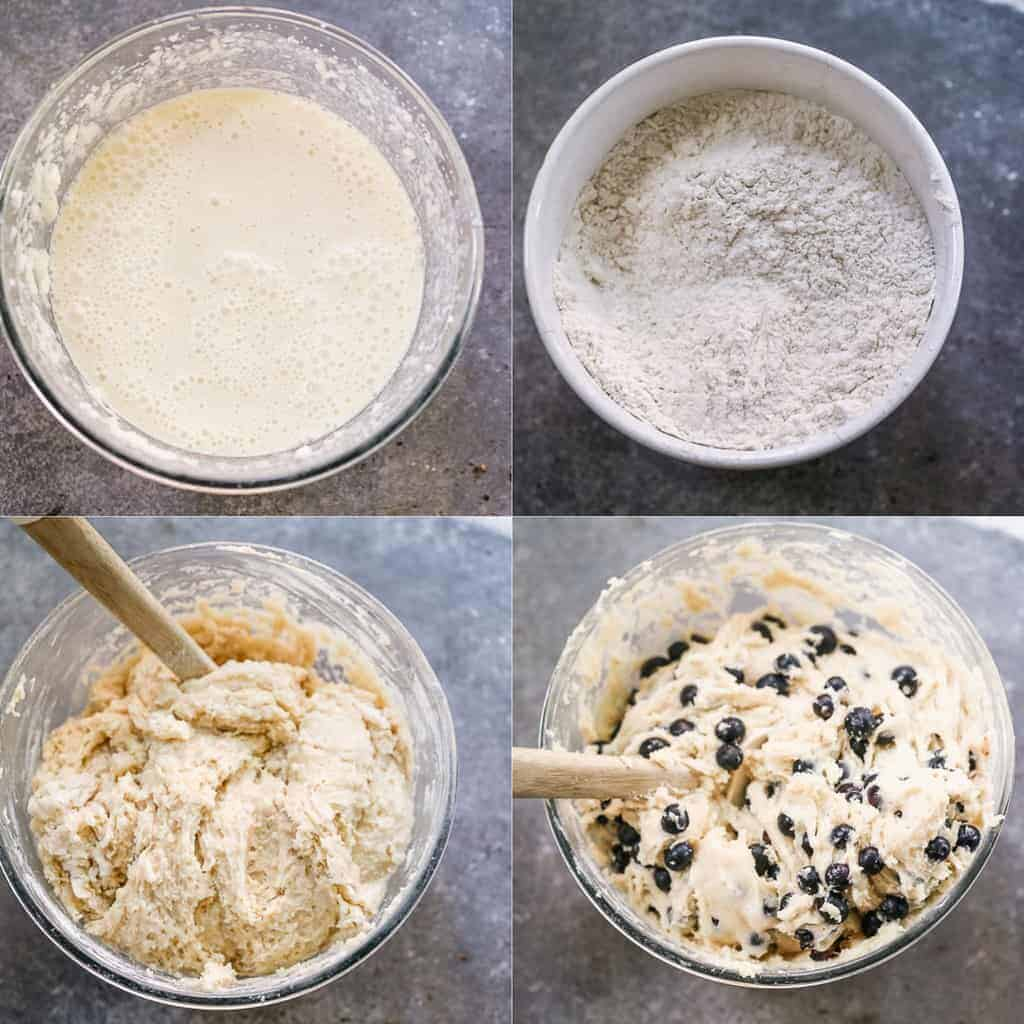 Four process photos for making the batter for Blueberry Coffee Cake.
