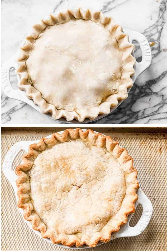 Two photos of a rhubarb pie before, and after baked.