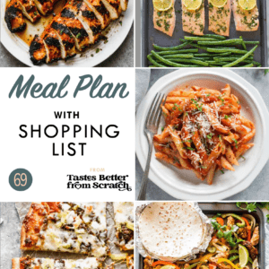 Collage of dinner recipe images comprising a weekly meal plan