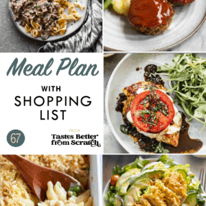 Collage of recipe images comprising a weekly meal plan