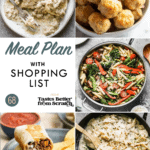 A collage of dinner recipe images comprising a weekly meal plan