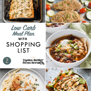 Collage of dinner recipes comprising a weekly meal plan
