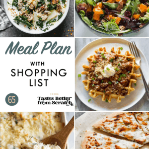 Collage of dinner recipe images comprising a weekly meal plan.